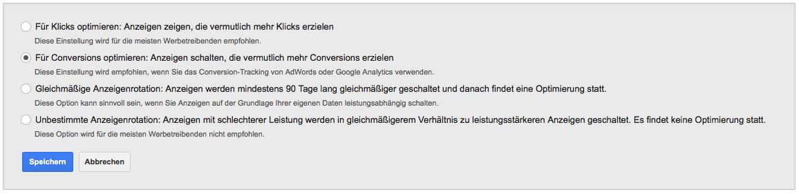 Anzeigenrotation bei Google AdWords